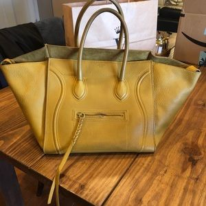 Yellow Celine Mini Luggage Bag